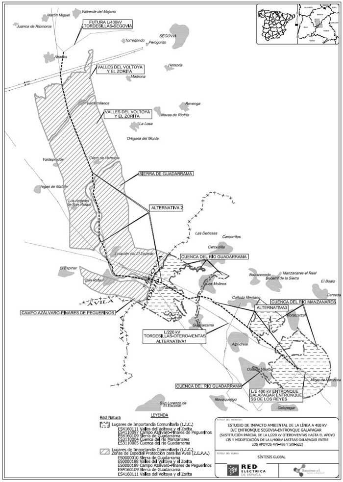 Línea de alta tensión en la Sierra de Guadarrama