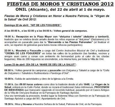 Onil. Fiestas Patronales de la Mare de Déu de la Salut - Moros y Cristianos 2012