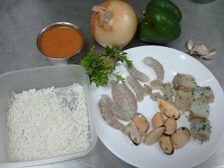 Arroz caldoso con pescado y mariscos