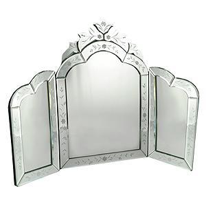espejo trptico para tocador en cristal esmerilado