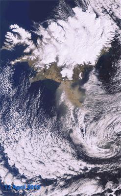 Evolución del penacho de ceniza del volcán Eyjafjälla vista desde satélite