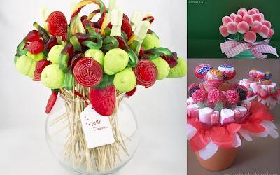 Brochetas centros y tartas realizadas con chuches paperblog - Adornos con chuches ...