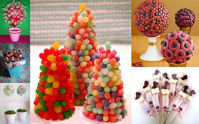 Brochetas centros y tartas realizadas con chuches paperblog for Pinchos de gominolas