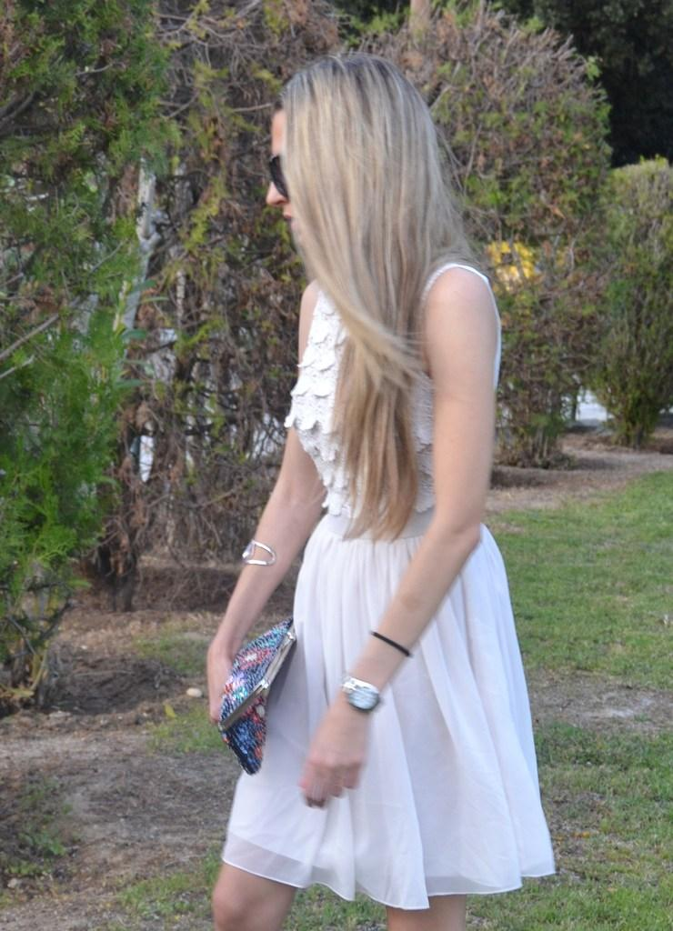 Sequins clutch and soft dress