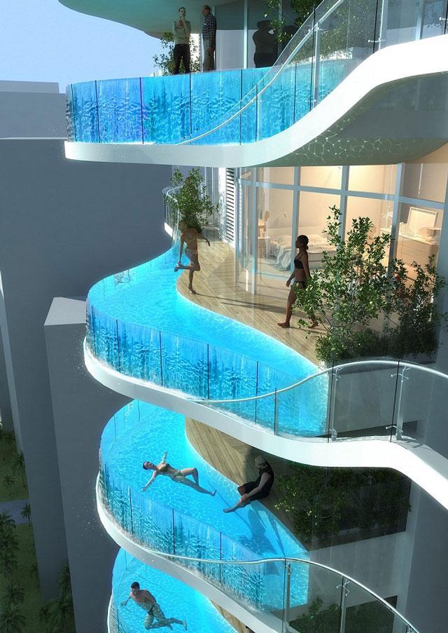 Pisos de lujo con piscinas de cristal en la terraza en la india paperblog - Pisos con piscina en madrid ...