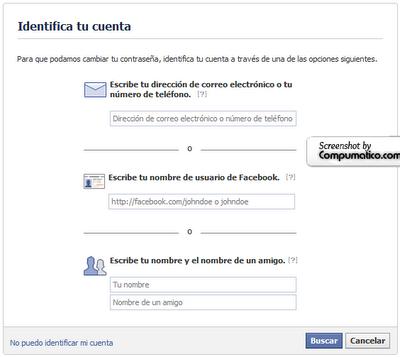 Como recuperar tu cuenta de Facebook