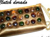 Clutch dorado gemas vidrio