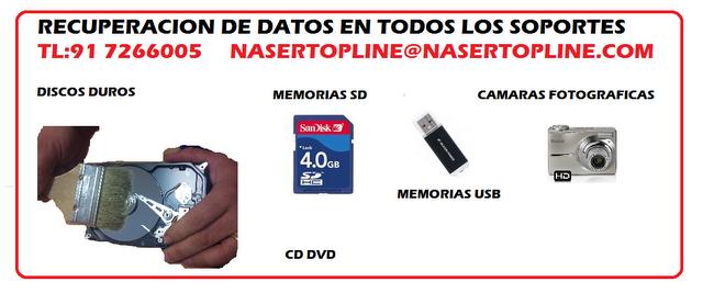 RECUPERACION DE DATOS DESDE 60€DISCOS DUROS, PENDRIVE, ME...