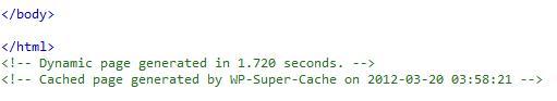 WP Super Cache, Código en página optimizada