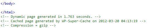 WP Super Cache, Código en página con compresión
