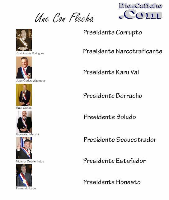 Humor y No Tanto: Une Con Flecha - Tipos De Presidentes