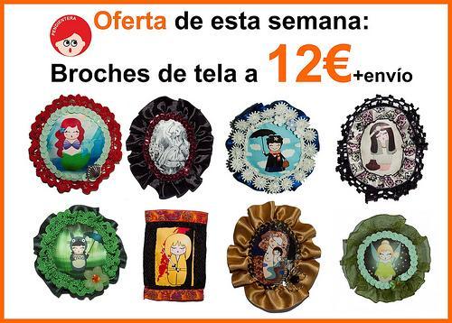 Oferta especial de la semana: Broches de tela a 12€+envío.