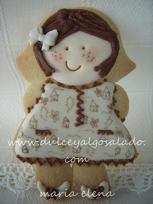 Galletas decoradas...niña conjuntito beige-marron