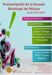 Preinscripción Banda Municipal de Música de Almadén curso 2012-2013