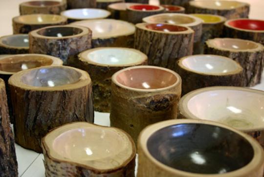 Bowl log 2 Bowls Log: Elegancia Rústica