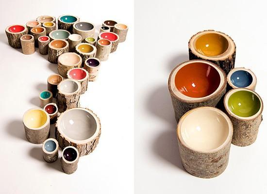 bowl log 4 Bowls Log: Elegancia Rústica