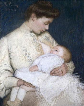 Madre amamantando a su hijo. Lilla Cabot Perry, 1906.