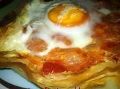 Tarta pasta philo rellena tomate huevo
