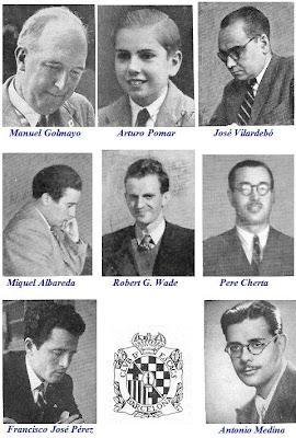 Los ajedrecistas Manuel Golmayo, Arturo Pomar, José Vilardebó, Miquel Albareda, Robert G. Wade, Pere Cherta, Francisco José Pérez y Antonio Medina