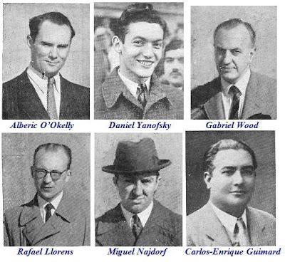 Los ajedrecistas Alberic O'Okelly, Daniel Yanofsky, Gabriel Wood, Rafael Llorens, Miguel Najdorf y Carlos-Enrique Guimard