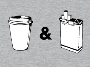 Café y cigarro, muñequito de barro
