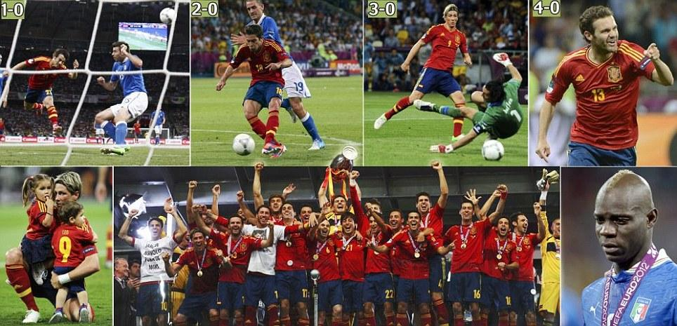 Simply the best: Silva, Alba, Torres and Mata steer Spain to historic 4-0 win over Italy as Del Bosque's men toast third successive title