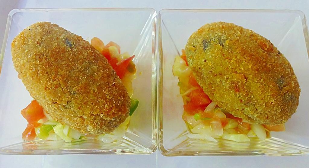 Croquetas de berenjenas y jamón cocido