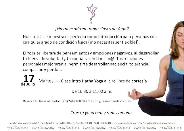 Clase intro hatha yoga de cortesia en casa ananda paperblog - Clases de yoga en casa ...