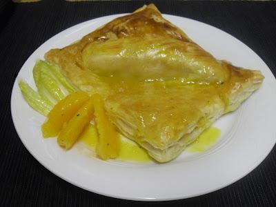 Salmón en hojaldre a la naranja