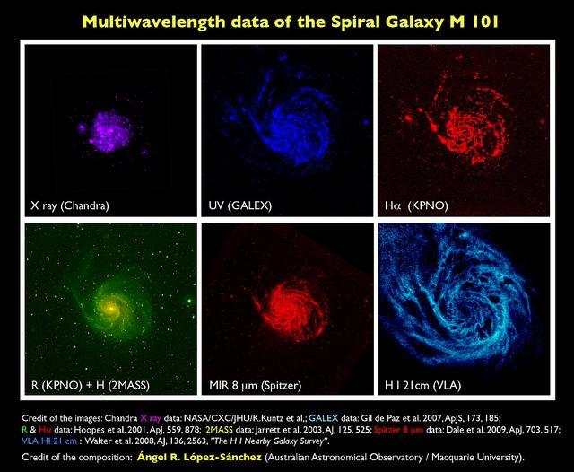 Gas, estrellas y polvo en la galaxia espiral M 101