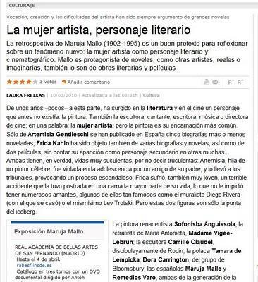 La mujer artista, personaje literario. Artículo de Laura Freixas en La Vanguardia.