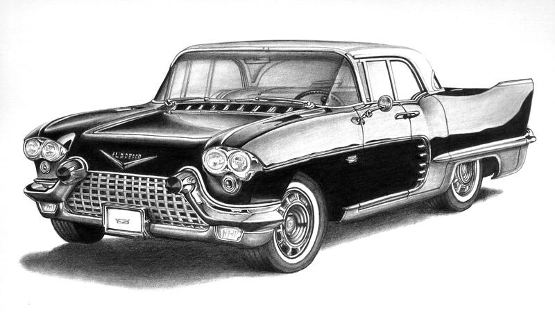 Dibujo a lápiz de auto terminado /Pencil drawing of car finished