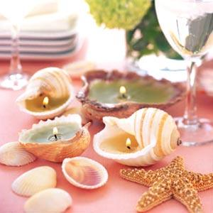 cera con conchas de mar para crear un centro de mesa