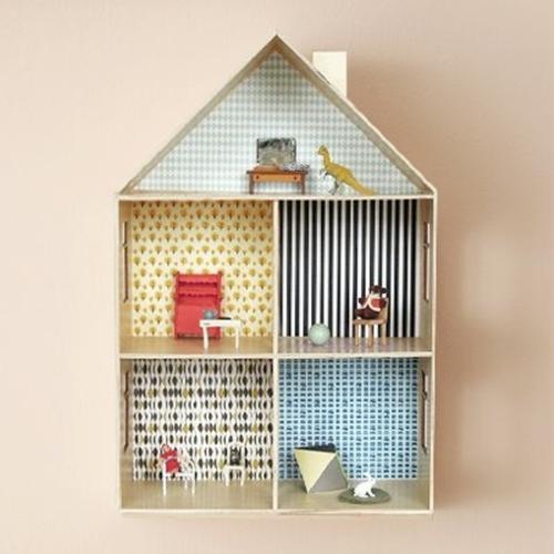 decorar casa de muñecas 2 Decora con papel pintado su casita de muñecas