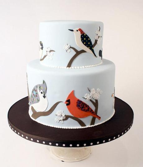 tarta con pájaros
