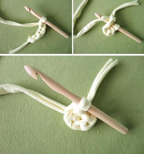 Flor de 5 pétalos de crochet con trapillo paso a paso