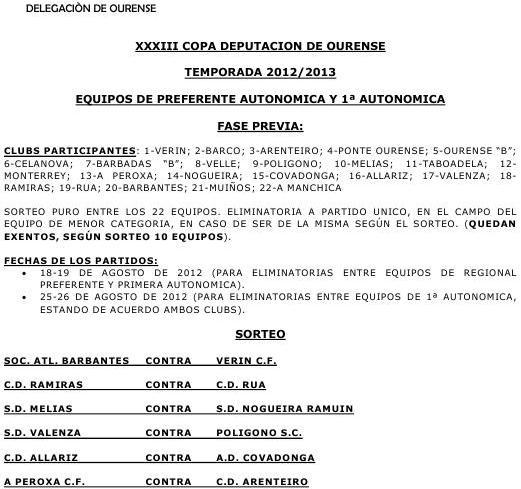 COPA DIPUTACIÓN OURENSE 2012/2013: EMPAREJAMIENTOS FASE PREVIA PREFERENTE Y PRIMERA AUTONÓMICA