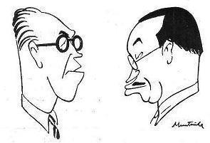 Caricaturas de Ángel Ribera y Pedro Cherta por Juan Muntañola