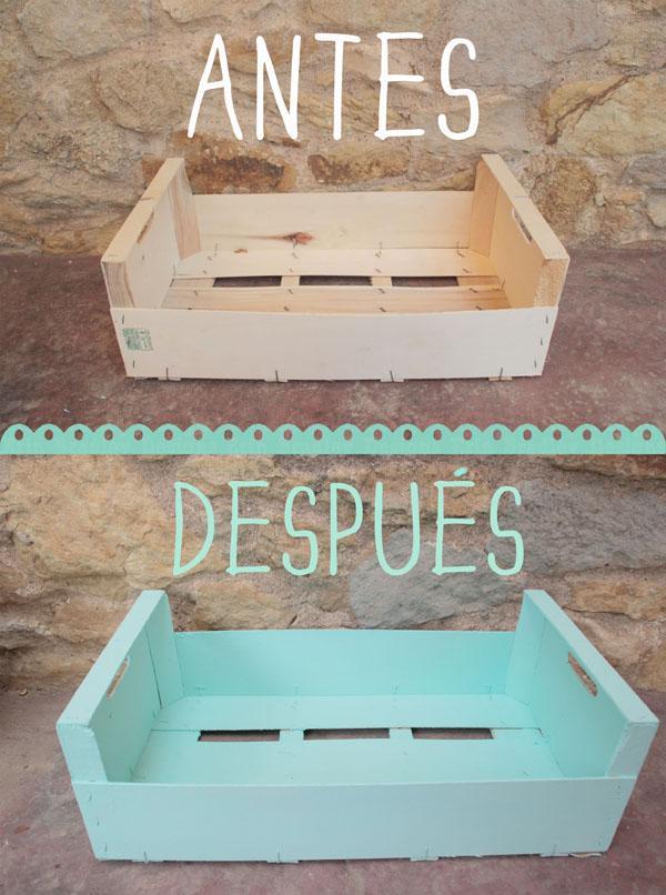 Diy caja de fruta reciclada paperblog for Mesa con cajas de fruta
