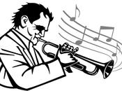 Silueta trompetista vector