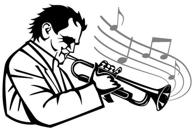 Silueta de trompetista en vectores gratis