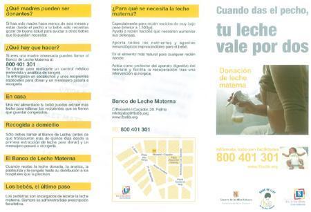 Folleto informativo sobre donación de leche materna en las Islas Baleares