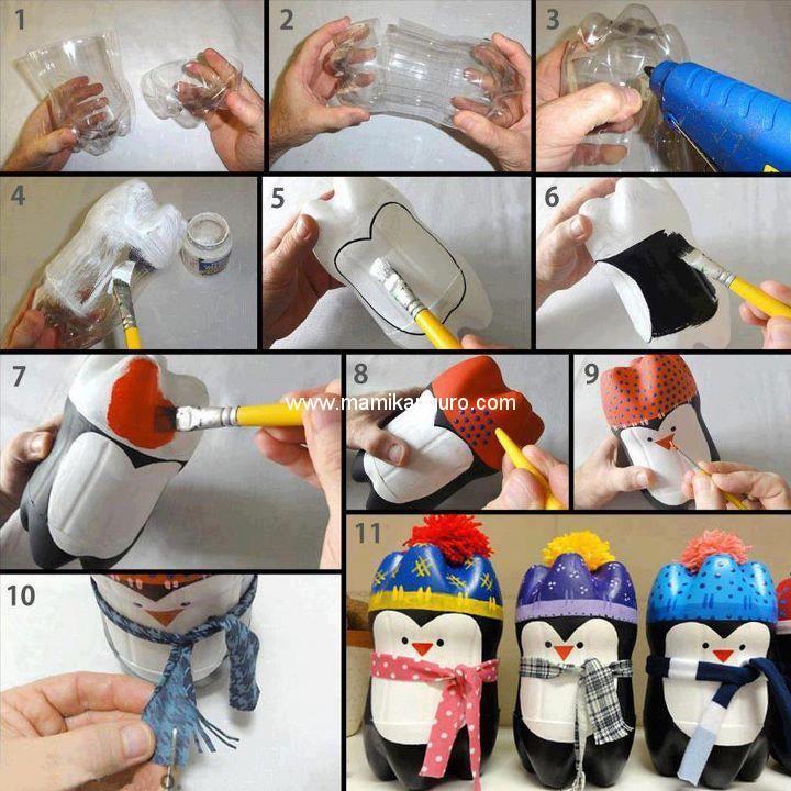 Hagamos pingüinos con botellas de plástico.