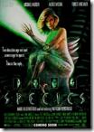 Cartel de la película «Species», una alienigena (Natasha Henstridge) con forma de hembra humana que busca reproducrise, a lo que muchos se prestan encantados