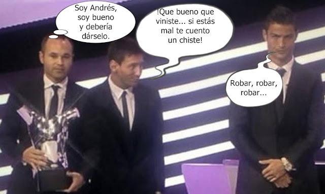 Cristiano Ronaldo Y Su  Mala Cara  En La Entrega Del Premio A Iniesta