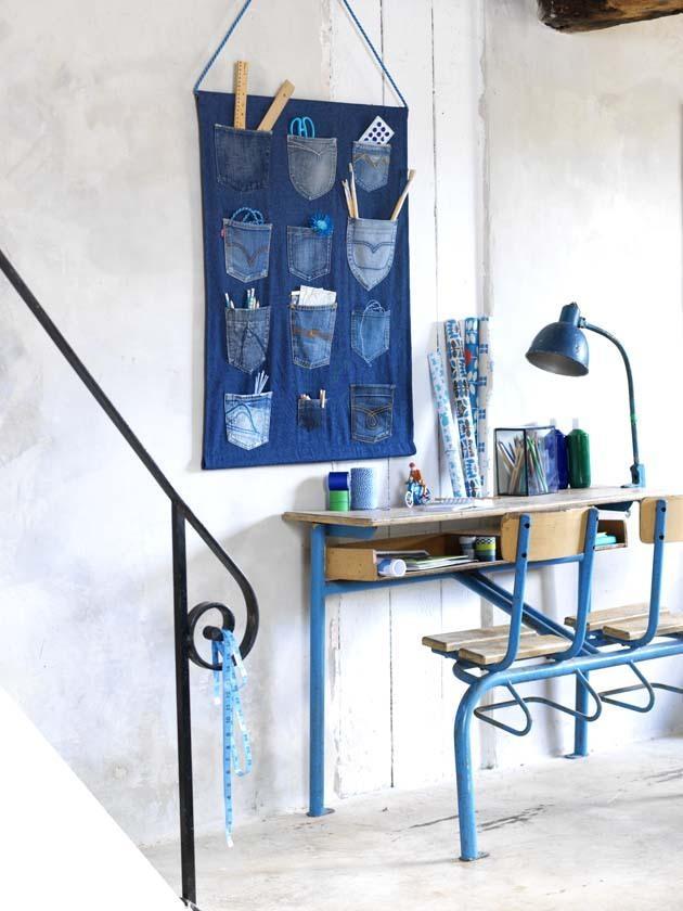 Guarda Para Baño Easy:bolsillos de los vaqueros que ya no usas, una cuerda y un par de