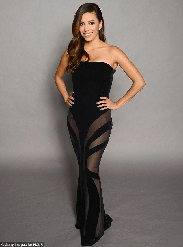 Sheer daring: Eva Longoria slipped into a very revealing dress as she hosted hosted the 2012 NCLR ALMA Awards in Pasadena, California this evening