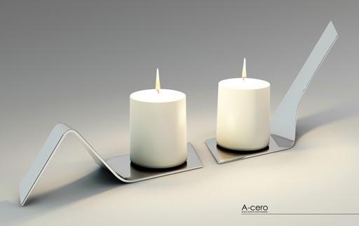Nuevos dise os a cero in soportes para velas y bandeja de acero pulido paperblog - Soporte para velas ...