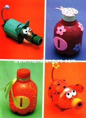 Manualidades infantiles con materiales reciclados paperblog for Plastic bottle coin bank