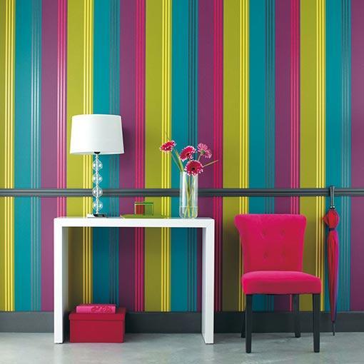 Decorar el recibidor con papel pintado a rayas paperblog - Papel de pared de rayas ...